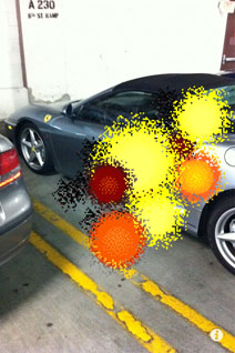 Screenshot: AR mode blowing up Ferarri.